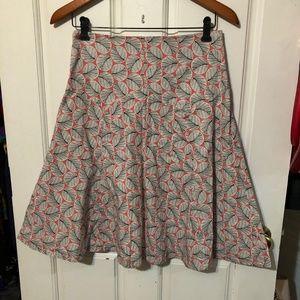 Anthropologe Elevenses Leaf Print A Line Skirt